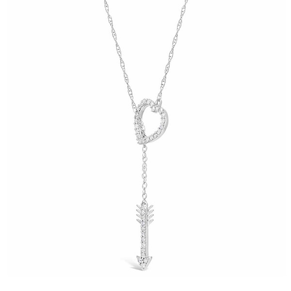 Womens 1/4 CT. T.W. White Diamond Y Necklace