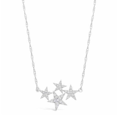 Womens 1/4 CT. T.W. White Diamond Sterling Silver Star Pendant Necklace