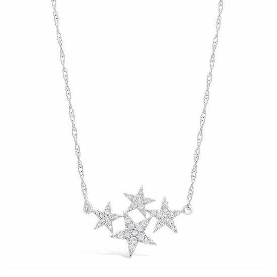 Womens 1 4 Ct Tw White Diamond Sterling Silver Star Pendant Necklace