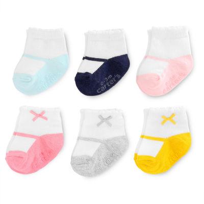 Carter's Ballerina & Bow 6 Pack Crew Socks - Baby Girl