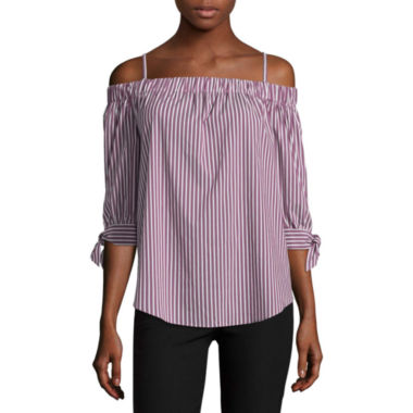 by&by 3/4 Sleeve Boat Neck Poplin Blouse-Juniors