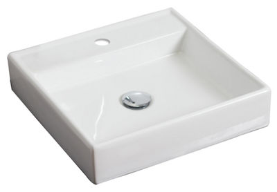 American Imaginations 17.5-in. W Above Counter White Vessel Set For 1 Hole Center Faucet - Faucet Included