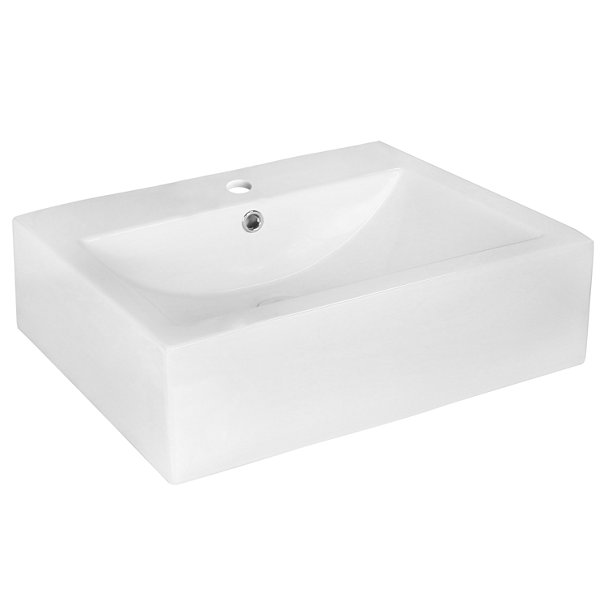 American Imaginations 20.25-in. W Above Counter White Vessel Set For 1 Hole Center Faucet
