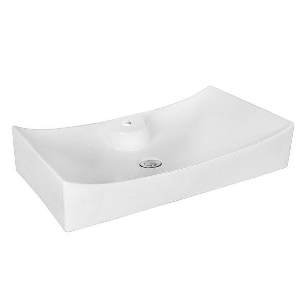 American Imaginations 26.25-in. W Above Counter White Vessel Set For 1 Hole Center Faucet
