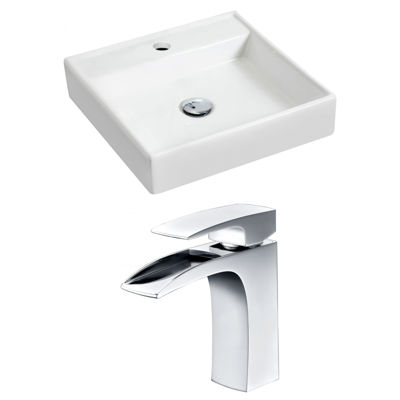 American Imaginations 17.5-in. W Wall Mount WhiteVessel Set For 1 Hole Center Faucet - Faucet Included