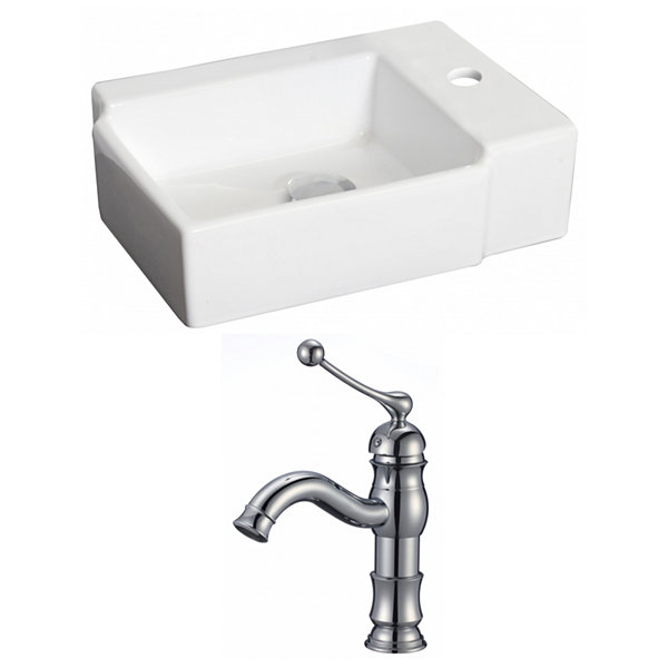 American Imaginations 16.25-in. Above Counter White Vessel Set For 1 Hole Right Faucet - Faucet Included