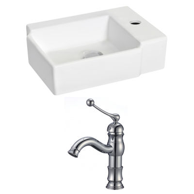 American Imaginations 16.25-in. Wall Mount White Vessel Set For 1 Hole Right Faucet - Faucet Included