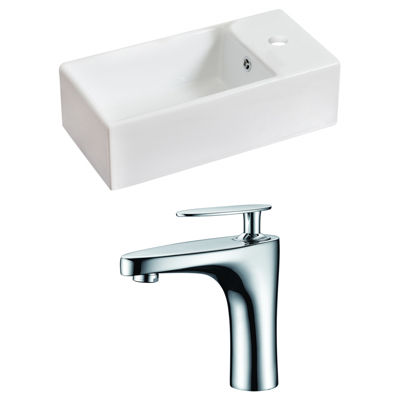 American Imaginations 19.25-in. W Above Counter White Vessel Set For 1 Hole Right Faucet - Faucet Included
