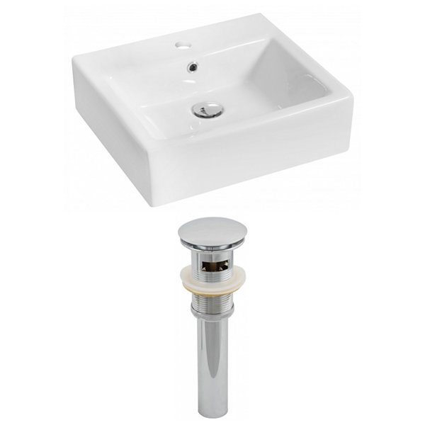 American Imaginations 21-in. W Above Counter White Vessel Set For 1 Hole Center Faucet