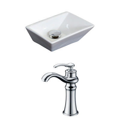 American Imaginations 12-in. Above Counter White Vessel Set For Deck Mount Drilling - Faucet Included