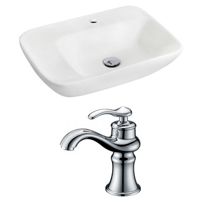 American Imaginations 23.5-in. W Wall Mount WhiteVessel Set For 1 Hole Center Faucet - Faucet Included