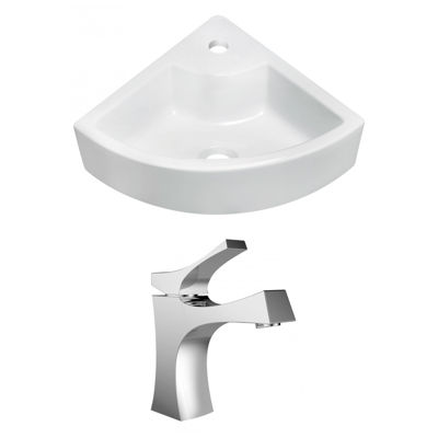 American Imaginations 26.25-in. W Wall Mount WhiteVessel Set For 1 Hole Center Faucet - Faucet Included