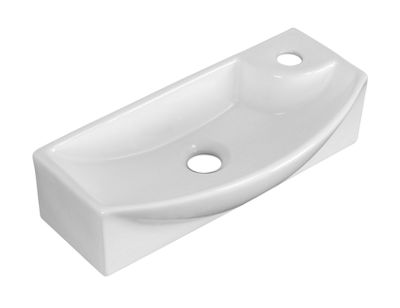 American Imaginations 17.75-in. W Wall Mount White Vessel Set For 1 Hole Right Faucet - Faucet Included