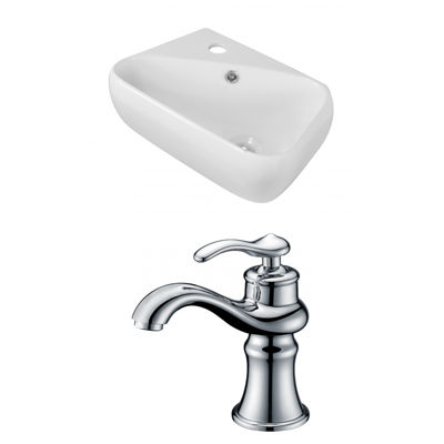 American Imaginations 17.5-in. W Wall Mount WhiteVessel Set For 1 Hole Left Faucet - Faucet Included