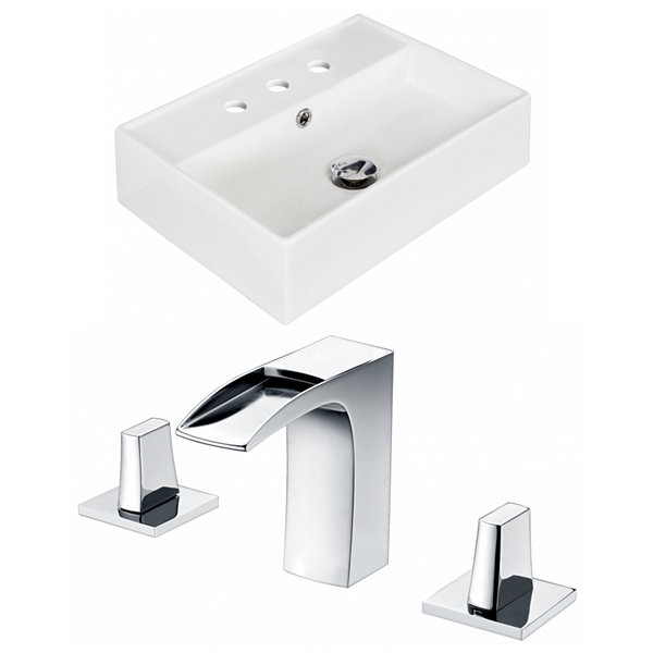 American Imaginations 19.75-in. W Above Counter White Vessel Set For 3H8-in. Center Faucet - FaucetIncluded