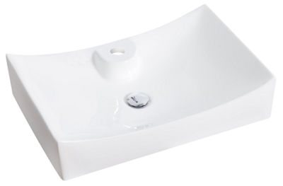 American Imaginations 26-in. W Above Counter White Vessel Set For 1 Hole Center Faucet - Faucet Included