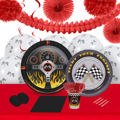 Racecar Racing Party 16 Guest Tableware & Deco Kit