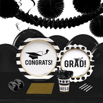 Graduation Party 16 Guest Tableware & Deco Kit