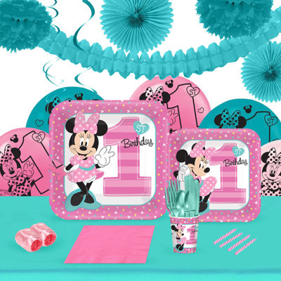 Disney Minnie Mouse 1st Birthday 16 Guest Tableware & Deco Kit