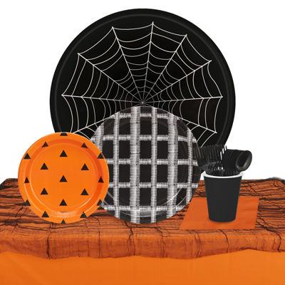 Halloween Black Orange & White 32 Guest TablewareKit