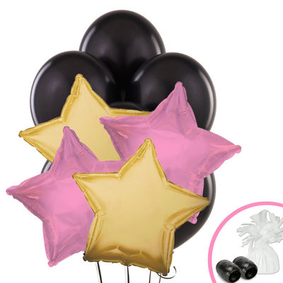 Black Pink & Gold Balloon Bouquet