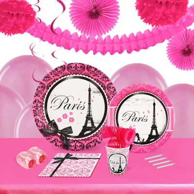 Paris Damask 16 Guest Tableware & Deco Kit