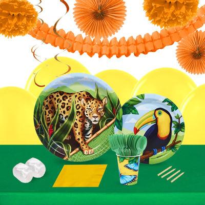 Jungle Party 16 Guest Tableware & Deco Kit