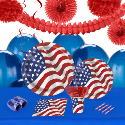 Patriotic USA Flag 16 Guest Tableware & Deco Kit