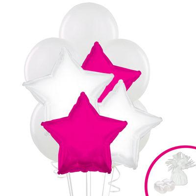 White & Pink Star Balloon Bouquet