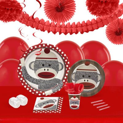 Sock Monkey Red 16 Guest Tableware & Deco Kit