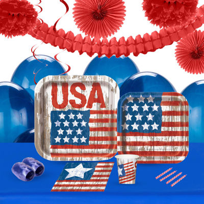 Vintage Patriotic Flag 16 Guest Tableware & Deco Kit