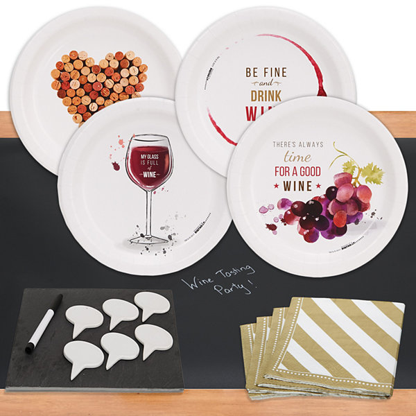 Wine Party32 pc Appetizer Pack w/ Chalkboard Runner & Cheese Board