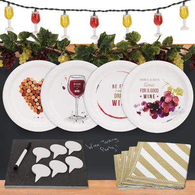 Wine Party 32 pc Appetizer Pack w/ Chalkboard Runner Cheese Board & Decor