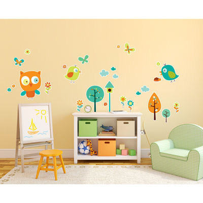 Woodland Animals Birds Owls Home Room Decor Removable Wall/Locker/Door/Decal Kids/Children