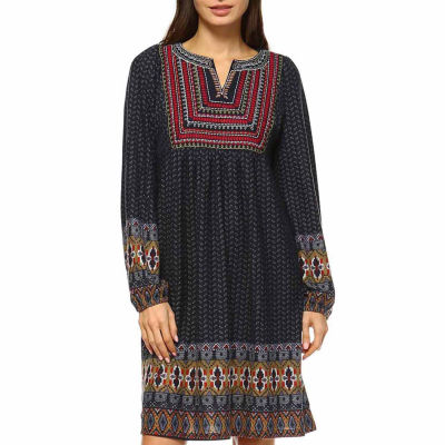 White Mark Atarah Embroidered Embroidered Sweater Dress