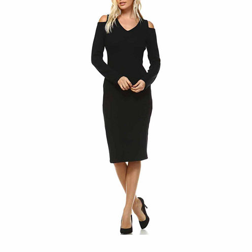 White Mark Taline Cut-Out Shoulder Cut Outs Sweater Dress