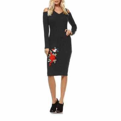 White Mark Olympia Cut-Out Shoulder Cut Outs Sweater Dress