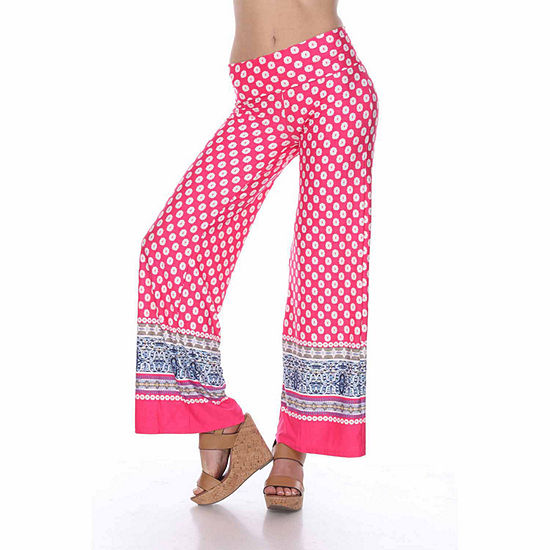 White Mark Border Print Womens Palazzo Pant