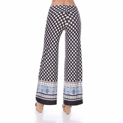 White Mark Border Print Bordered Palazzo Pants