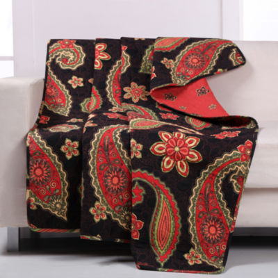 Greenland Home Fashions Midnight Paisley Reversible Throw
