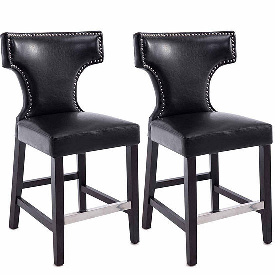 Kings Metal Studded Bonded Leather Counter Height Bar Stool