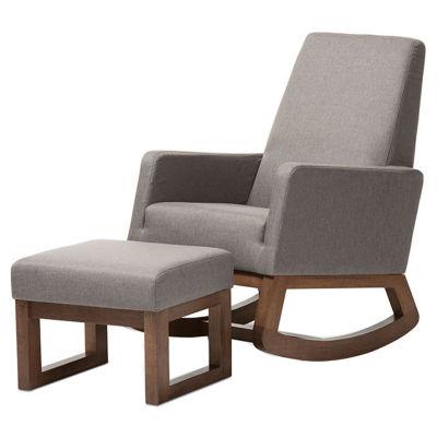Baxton Studio Yashiya With Ottoman Rocking Chair