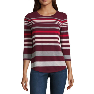 Liz Claiborne 3/4 Sleeve Crew Neck T-Shirt-Womens