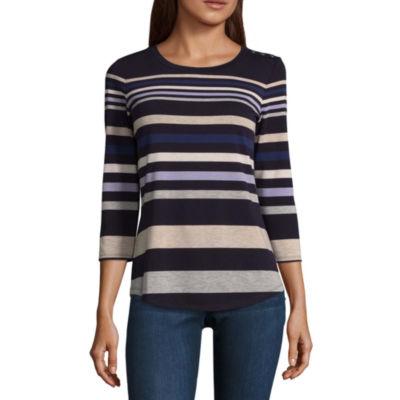 Liz Claiborne 3/4 Sleeve Crew Neck T-Shirt-Womens