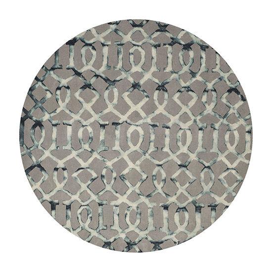 Safavieh Dip Dye Collection Diamond Geometric Round Area Rug