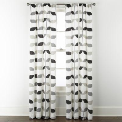 Home Expressions Stockholm Graphic Leaf Light-Filtering Rod Pocket Curtain Panel