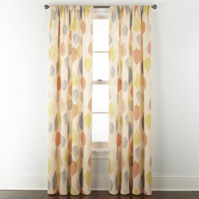 Home Expressions Stockholm Sketch Leaf Light-Filtering Rod Pocket Curtain Panel