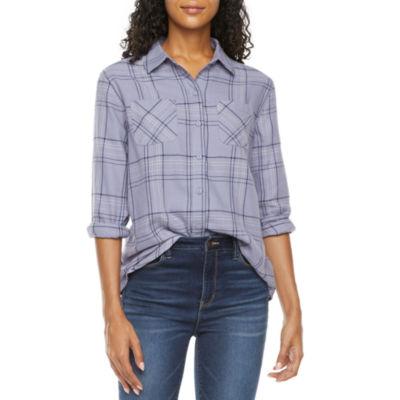 a.n.a Womens Long Sleeve Regular Fit Button-Down Shirt