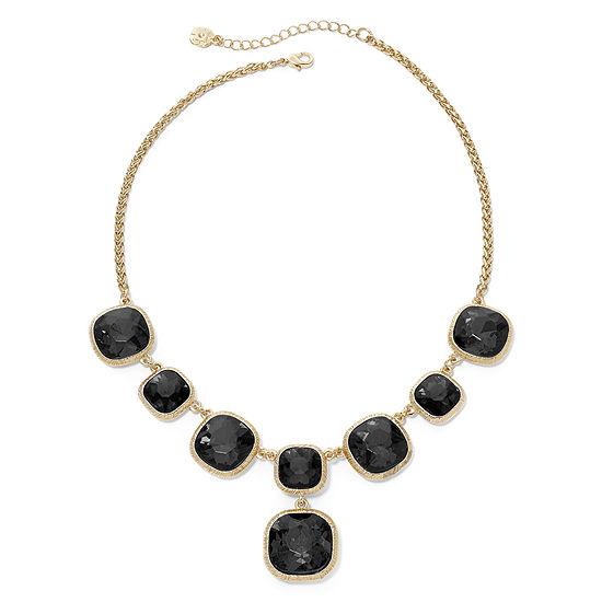 Monet Gold Tone Jet Black Y Necklace