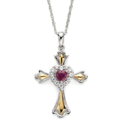 Lab-Created Ruby & White Sapphire Two-Tone Cross Pendant Necklace
